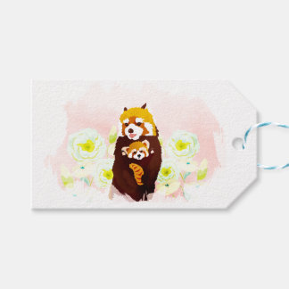 Pink Floral Red Panda Mom Baby Gift Tag