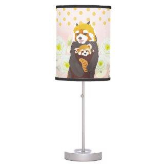 Pink Floral Red Panda Mom Baby Table Lamp