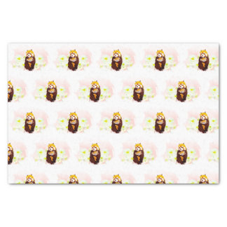 Pink Floral Red Panda Mom Baby Tissue Paper