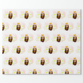 Pink Floral Red Panda Mom Baby Wrapping Paper