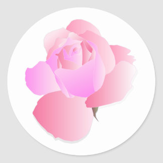 Pink Floral Rose Classic Round Sticker