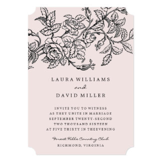 Pink Floral Rose Garden Wedding Invitation