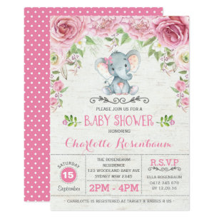 Baby shower invitations announcements zazzle ca pink floral roses elephant baby shower invitation filmwisefo