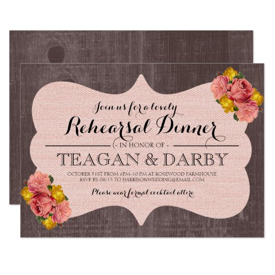 Pink Floral Roses Wood Rustic Rehearsal Dinner Card
