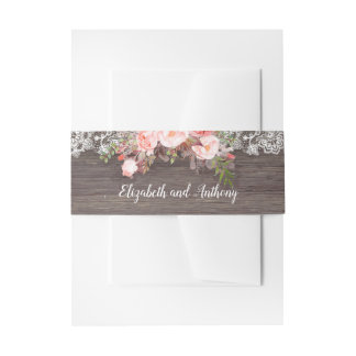 Pink Floral Rustic Invitation Belly Band