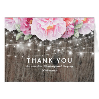 Pink Floral Rustic Lights Wedding Thank You Card