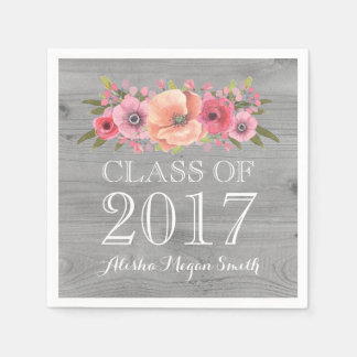 Pink Floral Rustic Wood Class of 2017 Graduation Paper Napkins