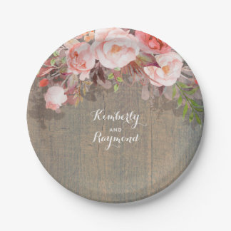 Pink Floral Rustic Wood Country Wedding Paper Plate