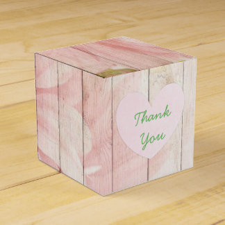 Pink Floral Rustic Wood Cupcake Box
