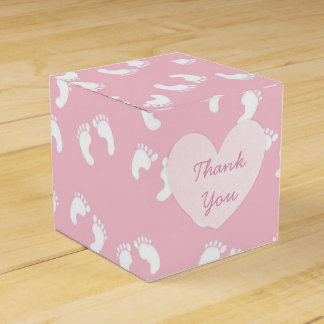 Pink Floral Rustic Wood Thank You Cupcake Box