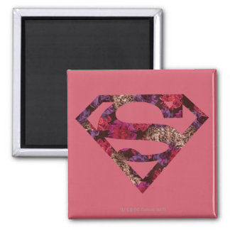 Pink Floral S-Shield Fridge Magnets