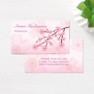 Pink Floral Sakura Cherry Blossom Tree Branch Business Card