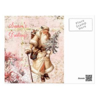 pink floral santa postcard