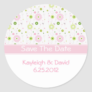 Pink Floral Save The Date Sticker