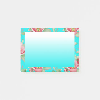 Pink Floral Shabby Chic Flower Blue Gradient Post-it Notes