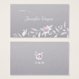 Pink floral silver Chinoiserie wedding place cards