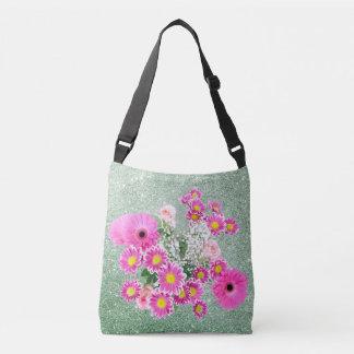 Pink Floral Soft Green Faux Glitter Crossbody Bag