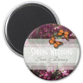 Pink Floral Spring Wedding Magnet