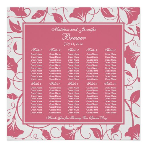 Pink Floral Square Wedding Reception Seating Chart Print