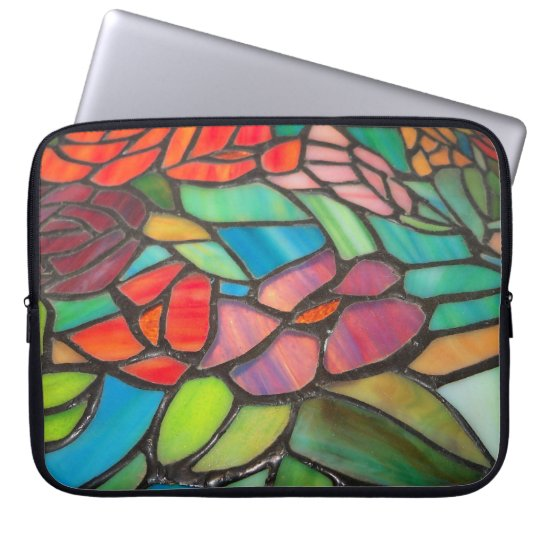 Pink Floral Stained Glass Laptop Sleeve