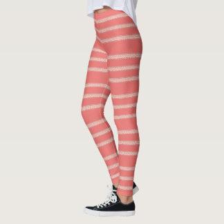Pink Floral Stripe Leggings