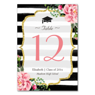 Pink Floral Striped Graduation Table Number