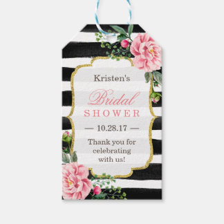 Pink Floral Stripes Bridal Shower Thank You Pack Of Gift Tags