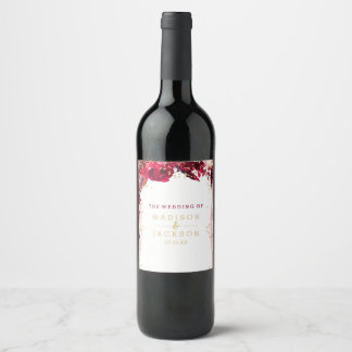 Pink Floral Stripes Gold Confetti Wedding Monogram Wine Label