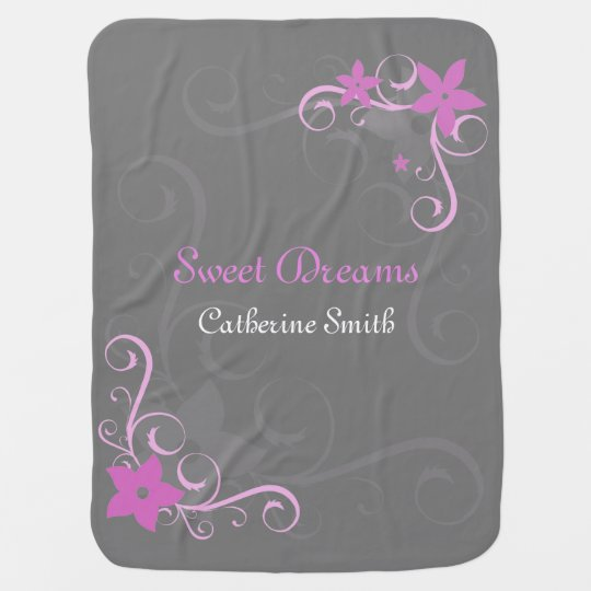 Pink floral swirl personalized baby name baby blankets
