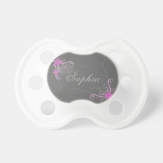 Pink floral swirl personalized baby name pacifier