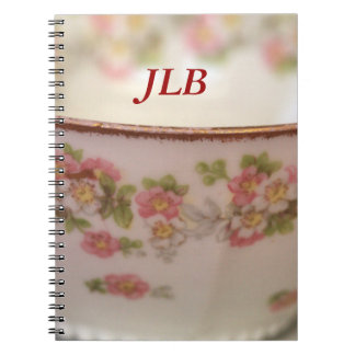 Pink Floral Teacup Personalize Notebooks