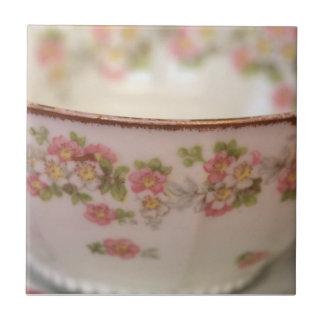 Pink Floral Teacup Tile
