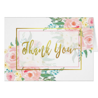 Pink Floral Thank You Cards