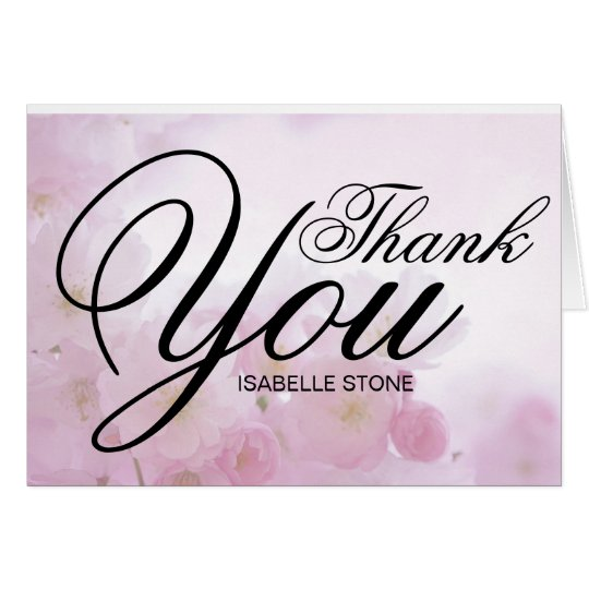 Pink Floral Thank You Notes Personalized