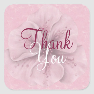 Pink Floral Thank You Square Sticker
