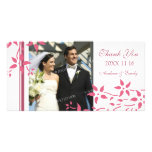 Pink Floral Thank You Wedding Photo Cards