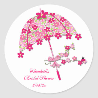 Pink Floral Umbrella Classic Round Sticker