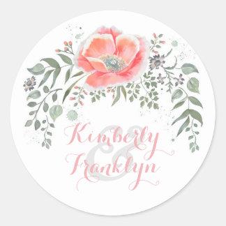 Pink Floral Vintage Boho Wedding Round Sticker