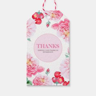 Pink Floral Vintage Botanical Wedding Pack Of Gift Tags