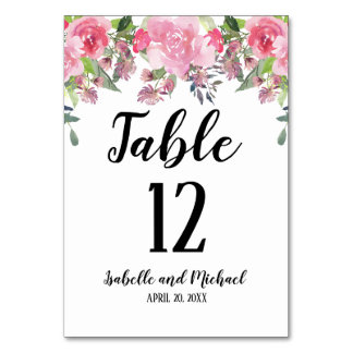 Pink Floral Water Color Wedding Table Number Card