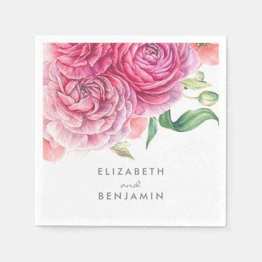 Pink Floral Watercolor Botanical Elegant Wedding Paper Napkins