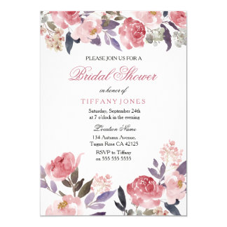 Pink Floral Watercolor Bridal Shower Invite