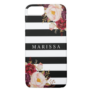 Pink Floral Watercolor Burgundy Marsala Stripe Case-Mate iPhone Case