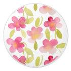 Pink Floral Watercolor Pattern Ceramic Knob