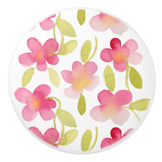 Pink Floral Watercolor Pattern Ceramic Knob