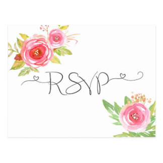 Pink Floral Watercolor RSVP reply card 3605 Postcard