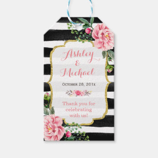 Pink Floral Watercolor Stripes Wedding Thank You Pack Of Gift Tags