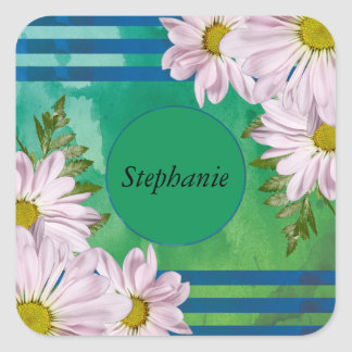 Pink Floral Watercolor Wash Personalized Square Sticker