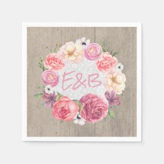 Pink Floral Watercolor Wreath Monogram Rustic Disposable Napkin