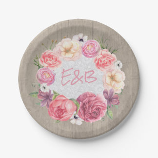 Pink Floral Watercolor Wreath Rustic Wood Wedding Paper Plate